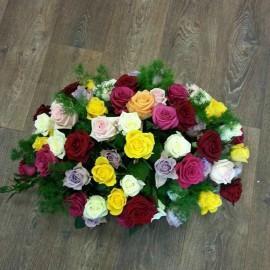 Aranjament 49 trandafiri viu colorati