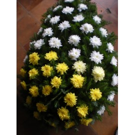 Coroana cu crizantema alba si galbena