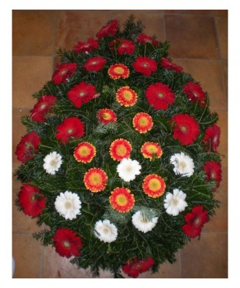 Coroana funerara din 38 gerbera colorate