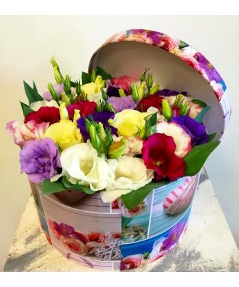 Cutie cu Lisianthus multicolor