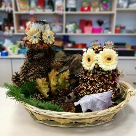 Aranjament floral in forma de bufnita