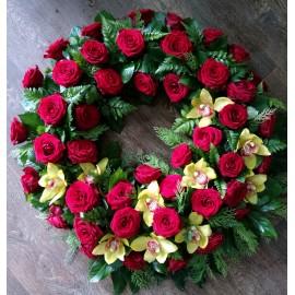 Coroana rotunda trandafiri si orhidee