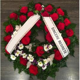 Coroana funerara trandafiri si orhidee