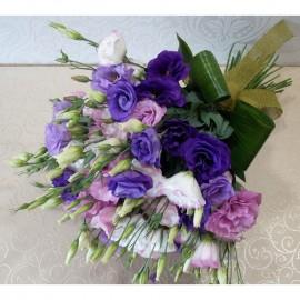 Buchet clasic si elegant cu 15 lisianthus colorat