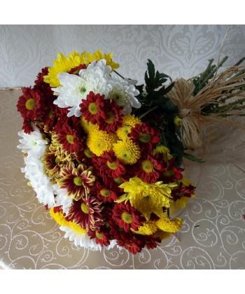 Buchet 19 crizanteme multicolore
