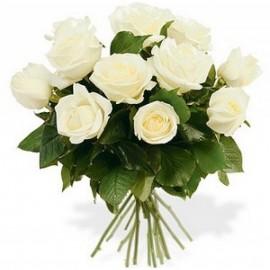 Buchet simplu din 13 trandafiri albi