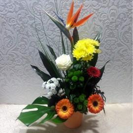 Aranjament floral cu crizanteme, gerbera, strelitzia si un trandafir alb