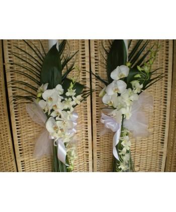 Lumanari de nunta cu orhidee dendrobium si phalaenopsis