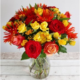 Buchet trandafiri si crizanteme