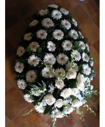 Coroana funerara cu gerbera, orhidee si trandafiri