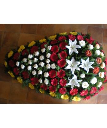 Coroana funerara gerbera, cupe de crini, trandafiri si garoafe