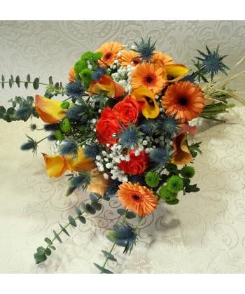 Buchet mix special cu trandafiri, mini gerbera, cale si eryngium
