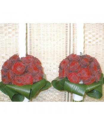 Lumanare de nunta cu trandafiri rosii si aspidistra