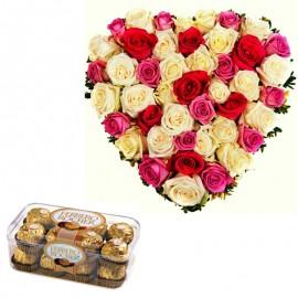 Inima dulce din 49 trandafiri si praline Ferreo Rocher