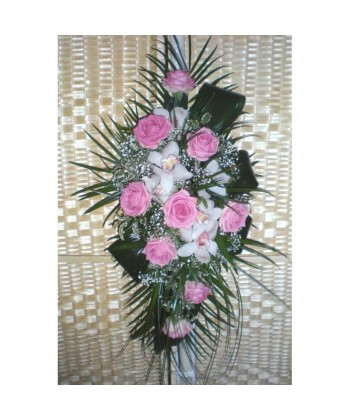 Lumanari de nunta cu trandafiri, orhidee, gypsophilla