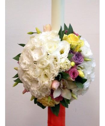 Lumanare nunta cu lisianthus