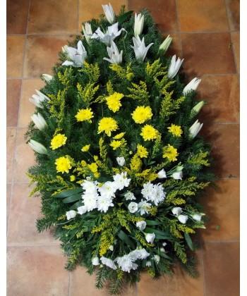 Coroana funerara din flori albe si galbene