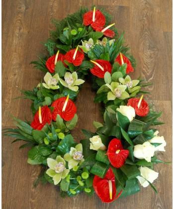 Aranjament funerar orhidee, anthurium si trandafiri