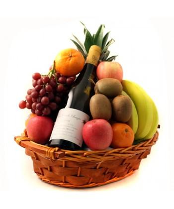 Cos cu fructe si vin alb