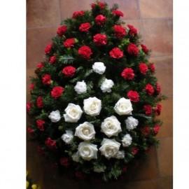 Coroana lacrima cu 8 trandafiri si 60 garoafe