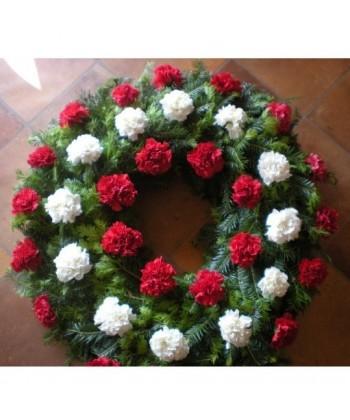 Jerba funerara din 38 garoafe rosii si albe