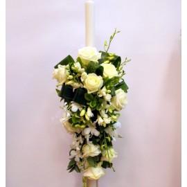 Lumanare nunta cu flori albe