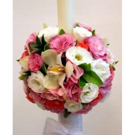 Lumanare nunta cu lisianthus alb si roz