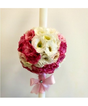 Lumanare nunta cu lisianthus alb si grena