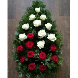 Coroana funerara cu 20 trandafiri rosii si albi