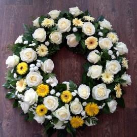 Coroana rotunda in alb si galben
