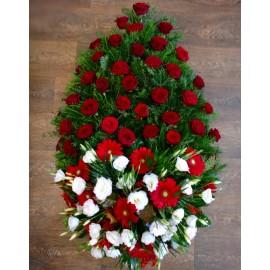Coroana flori albe si rosii