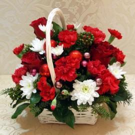 Cosulet de Craciun cu flori, brad si globuri