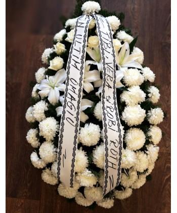 Coroana funerara alba cu trandafiri, crini si crizanteme