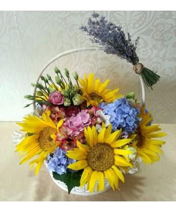 Aranjament de vara cu floarea soarelui si lavanda