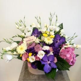 Aranjament de vara mix cu flori fresh in cutie