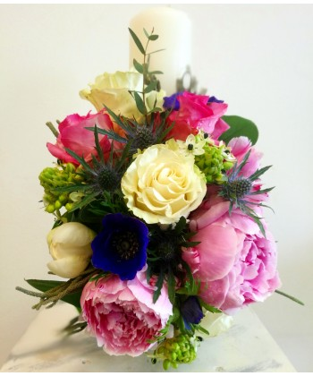 Lumanare de botez cu flori mixte