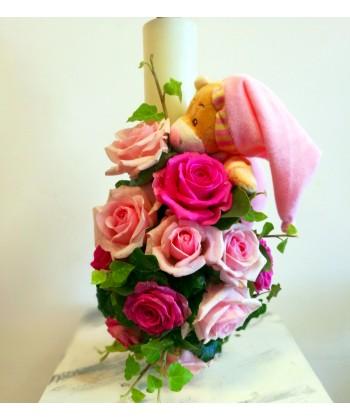 Lumanare de botez cu trandafiri roz si ursulet pentru fetita