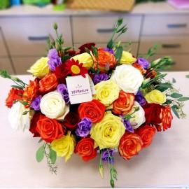 39 trandafiri colorati si lisianthus mov