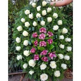 Coroana funerara 38 trandafiri si 12 orhidee
