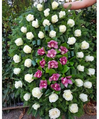 Cana funerara 38 trandafiri si 12 orhidee