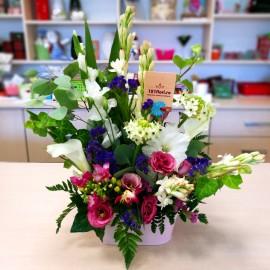 Aranjament flori mix, viu colorate in vas
