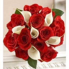 Buchet mireasa cu trandafiri si cale