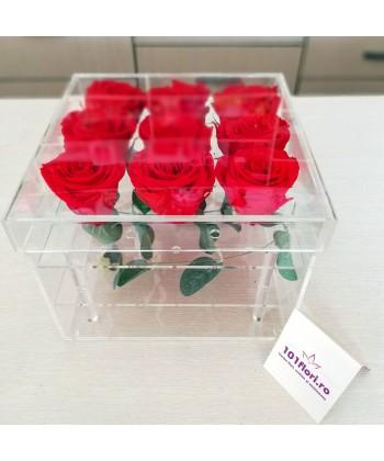 9 trandafiri criogenati rosii in cutie transparenta