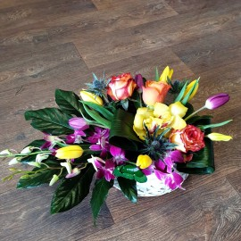 Cosulet flori cu lalele, orhidee, trandafiri si eryngium