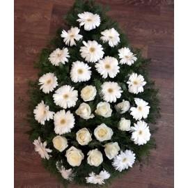Coroana funerara din flori albe 20 gerbera si 10 trandafiri