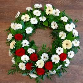 Coroana flori naturale 39 gerbera si 7 trandafiri