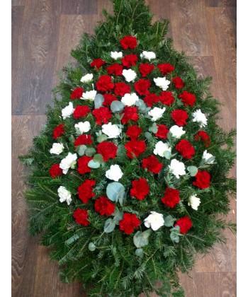 Coroana funerara cu 40 garoafe rosii si crizanteme albe