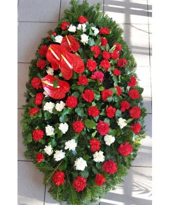 Coroana funerara cu anthurium rosu si garoafe