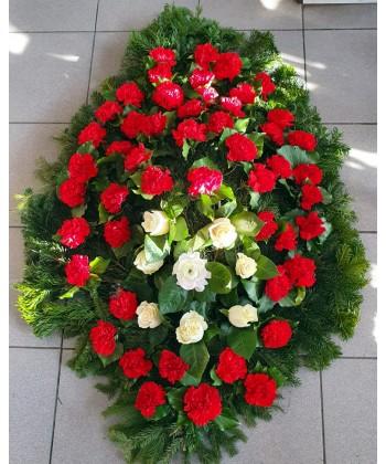 Coroana funerara 50 garoafe si 8 trandafiri