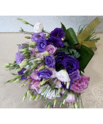 Buchet clasic si elegant cu 13 lisianthus colorat